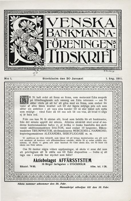 Preview of file w_TAM-Arkiv_Finansforbundet_0006_9_B3_Sbmf_Bankvarlden_1-1911_1911-01-20.pdf at http://www.tam-arkiv.se/share/proxy/alfresco-noauth/tam/content/workspace/SpacesStore/13755e21-6878-4744-b4e4-ad9ec4b564cf with style overlay_preview is not available.
